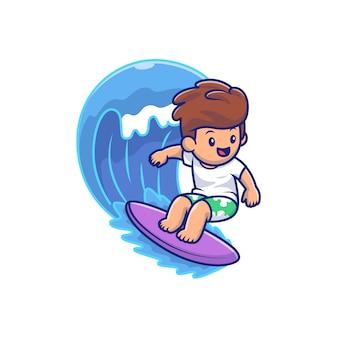 Милый мальчик, серфинг на волне мультфильм вектор значок иллюстрации. люди и спорт значок концепция изолированных премиум вектор. плоский мультяшный стиль