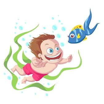 Cute boy swimming