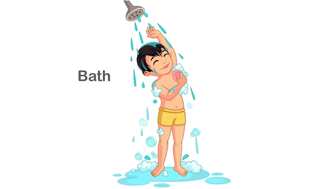 Cute boy taking a bath vector illustration