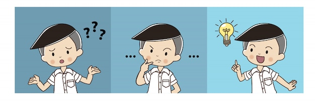 Cute boy in thai student uniform is confusing then thinking and got the idea.