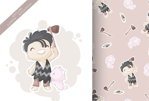 Cute boy tribal with seamless pattern