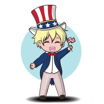 Cute boy in uncle sam costume., independence day cartoon.