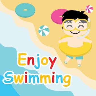 Симпатичный мальчик хочет поплавать на пляже векторный мультфильм, летняя открытка, обои и поздравительная открытка, дизайн футболки для детей