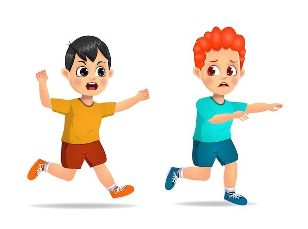 かわいい男の子は怒って怖がっている友達を追いかけます。孤立した