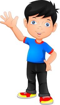 Cute boy waving