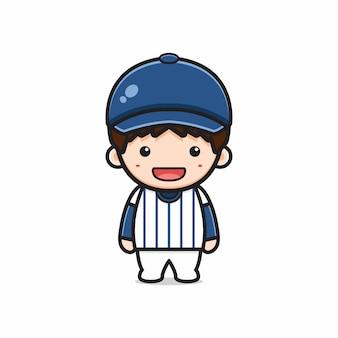 야구 유니폼 만화 아이콘 그림을 입고 귀여운 소년입니다. 디자인 고립 된 평면 만화 스타일