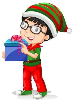 クリスマスの衣装の漫画のキャラクターを身に着けているかわいい男の子