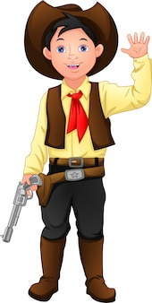 Cute boy wearing costume cowboy