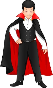 Cute boy wearing dracula costume