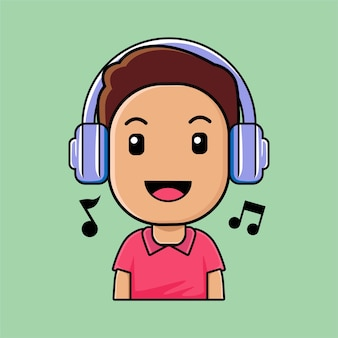 Cute boy wearing headphones listening music cartoon illustration