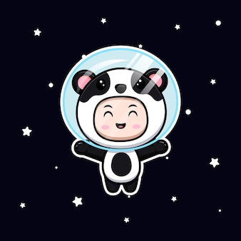 Cute boy wearing panda costume floating on space. animal costume character flat illustration