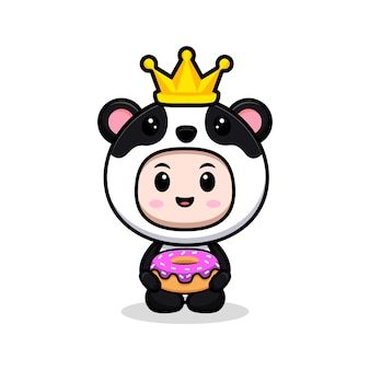 Cute boy wearing panda costume with crown and donut animal costume character flat illustration