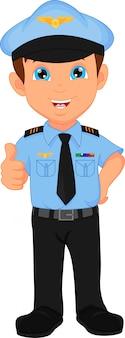 Cute boy wearing pilot costume waving