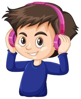 흰색 바탕에 분홍색 헤드폰을 착용하는 귀여운 소년