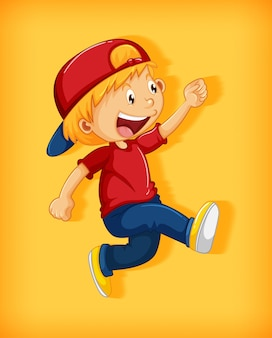 Cute boy wearing red cap with stranglehold in walking position cartoon character isolated on yellow background