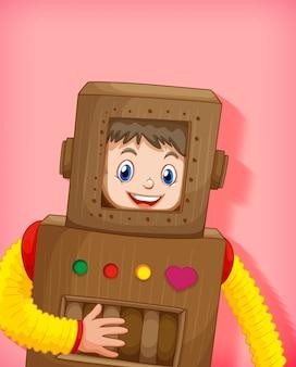 Милый мальчик в костюме робота изолирован