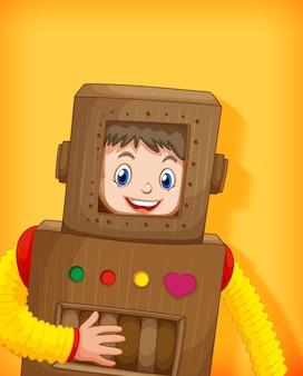 Ragazzo sveglio che indossa il costume del robot isolato