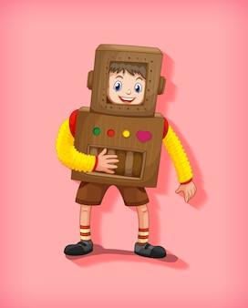 Ragazzo sveglio che indossa il costume del robot in posizione eretta isolata