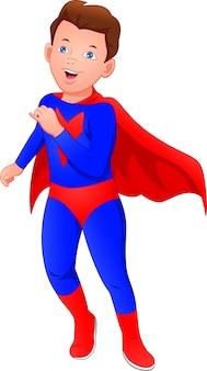 슈퍼 히어로 의상을 입고 귀여운 소년