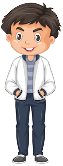 Cute boy in white jacket isolated