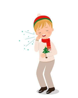 Cute boy in winter clothes coughing. medical clip art.