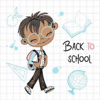 学校のバックパックを持ったかわいい男の子が学校に行きます。学校に戻る。ベクター。