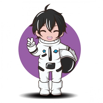 Cute boy with astronaut costume.