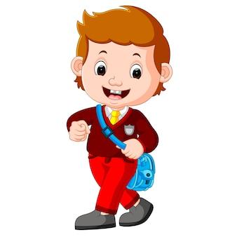 Симпатичный мальчик с рюкзаком мультфильм