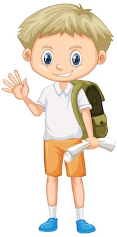 Cute boy with backpack and paper