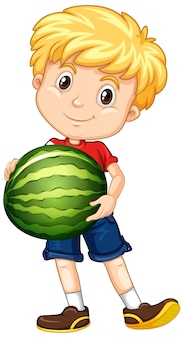 Cute boy with blonde hair holding a watermelon in standing position