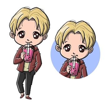 Cute boy with bubble boba tea cartoon
