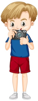 Cute boy with camera in his hands