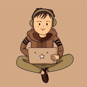 Милый мальчик с компьютером