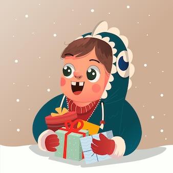 디노 후드티를 입은 귀여운 소년은 크리스마스 이브를 축하하고 많은 선물 삽화를 받았습니다