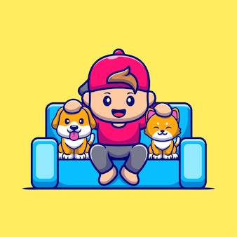 Cute boy with dog and cat cartoon icon illustration.