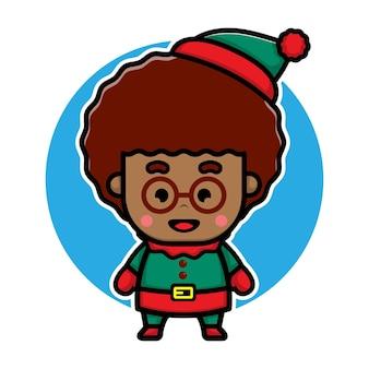 Cute boy with elf costume cartoon vector christmas concept illustration