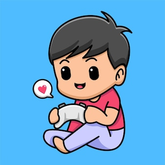 Cute boy with game controler cartoon illustration