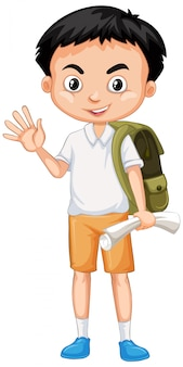 Cute boy with green backpack greeting