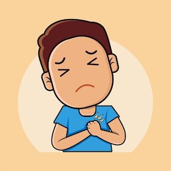 Cute boy with heart attack cartoon illustration