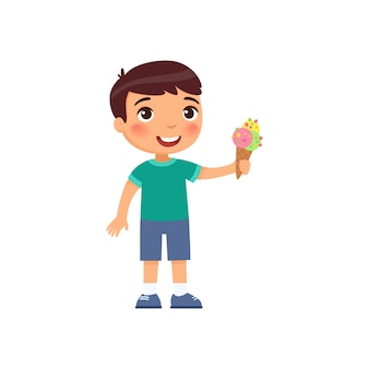 Cute boy with ice cream. happy child with sweet summer dessert cartoon character. little kid holding refreshing gelato in waffle cone