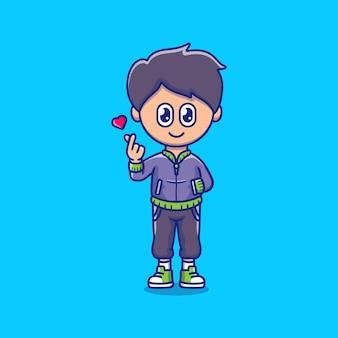Милый мальчик с рукой знак любви