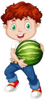 Cute boy with red hair holding watermelon fruit in standing position