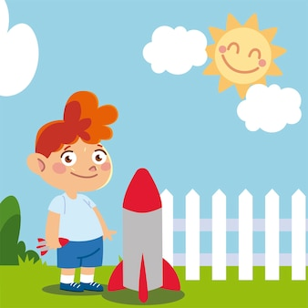 Cute boy with rocket in yard cartoon, children  illustration