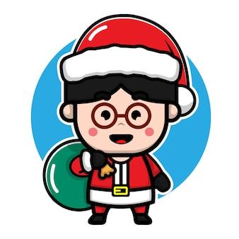 Милый мальчик с костюм санта мультфильм вектор рождество концепция иллюстрации