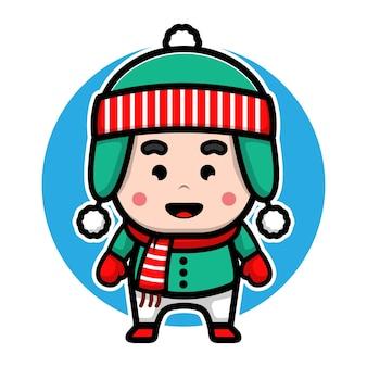 Милый мальчик в шляпе санта-клауса мультяшный вектор рождественская иллюстрация концепции