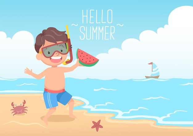 Cute boy with snorkel holding watermelon hello summer