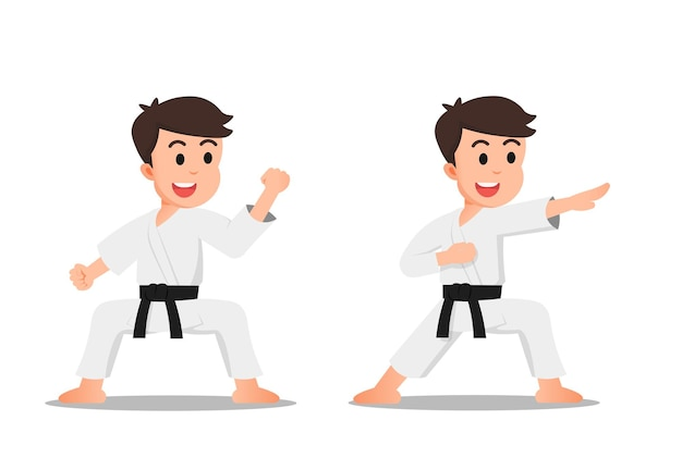 A cute boy with some karate poses