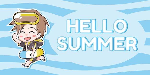 明るい青と濃い青の波状の背景に夏のアクセサリーの漫画とこんにちは夏のテキストを持つかわいい男の子