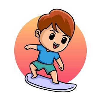 서핑 보드 만화 일러스트와 함께 귀여운 소년