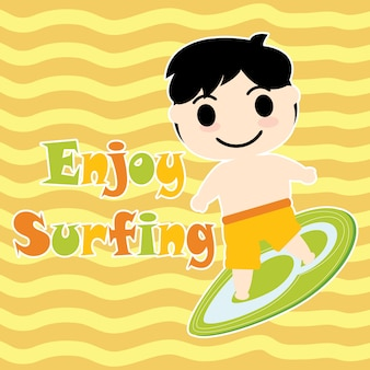 Cute boy with surfing board vector cartoon, summer postcard, wallpaper, and greeting card, t-shirt design for kids